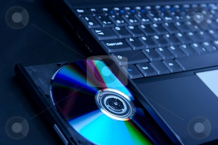 Laptop stock photo, Laptop with open CD tray by P?