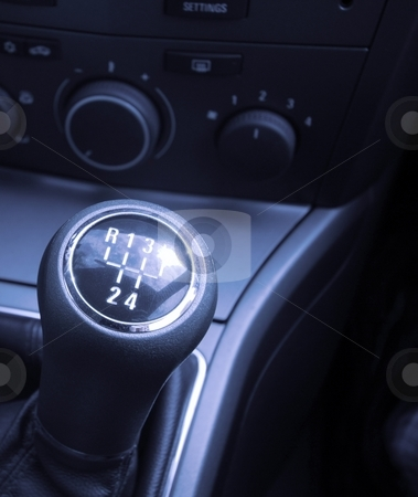 Gear stock photo, Shiny gearstick of a car by P?