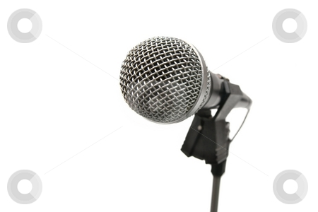 Microphone stock photo, Microphone on a stand isolated on white background by P?