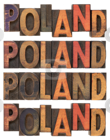 Poland in vintage wooden type stock photo, Word Poland (four versions) in vintage letterpress wood type, stained by ink, isolated on white by Marek Uliasz