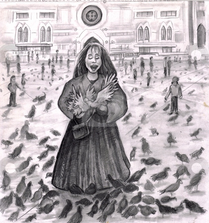 Bird Lady Fun with the Pigeons. stock photo, Pigeons surrounding a young lady in Italy outside. She is laughing with all the attention of the birds in this black, white, gray and slightly sepia illustration. by Lee Serenethos