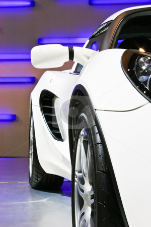 White sport car stock photo, White sport car in auto show by Korn Siricharoensataporn