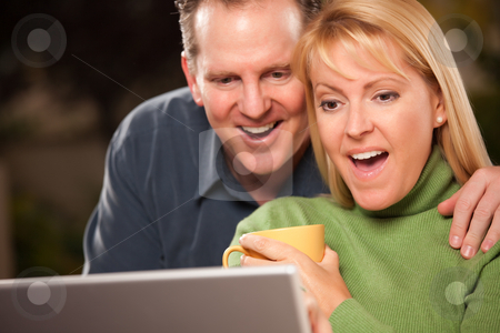Handsome Couple Using Laptop stock photo, Handsome Happy Couple Using Their Laptop Together. by Andy Dean