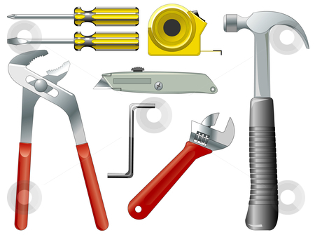 Vector illustration of work tools stock vector clipart, Vector illustration of work tools isolated on white by Igor Nazarenko