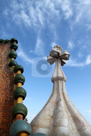 Cross Smoke Stack stock photo, Chimney smoke stack shaped in a cross pattern with tiles by Kevin Tietz