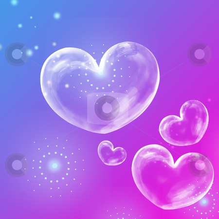 Abstract background with heart stock photo, Transparent hearts on the purple and blue background by Su Li