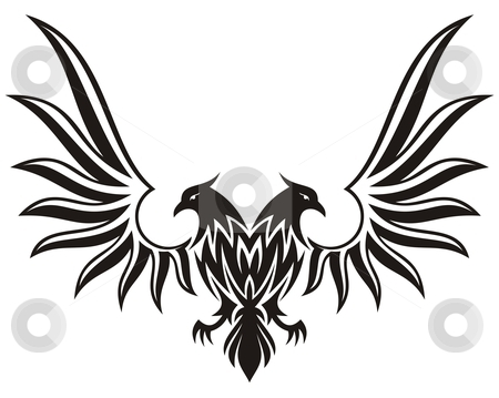 Double headed eagle 2 stock vector clipart, Silhuette of double headed eagle isolated on white by fractal.gr