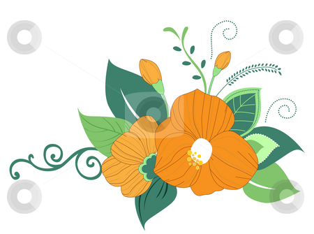 Flower stock photo, Flower with green leaves on the white background by Su Li