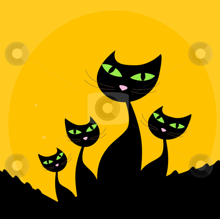 Cat family - black silhouette on orange background stock vector clipart, Four stylized cute cats isolated on orange background. Vector cartoon illustration. by BEEANDGLOW