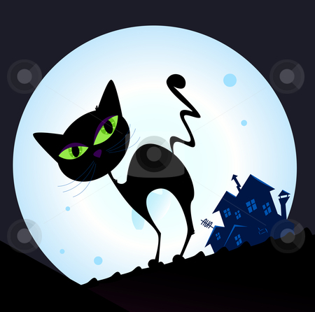 Vector - Black cat silhouette in night town stock vector clipart, Silhouette of black cat with green eyes on the roof Night town with full moon in background Vector Illustration by BEEANDGLOW