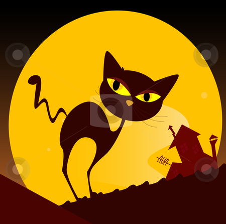Black cat silhouette and city sunset stock vector clipart, Spooky cat silhouette, old house mansion and yellow sunset in background. Vector Illustration. by BEEANDGLOW