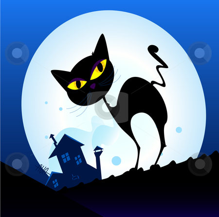 Vector - Black cat silhouette in night town stock vector clipart, Silhouette of black cat with yellow eyes on the roof Night town with full moon in background Vector Illustration by BEEANDGLOW