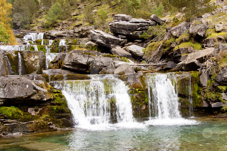 Cascade in ordesa national park. stock photo, Small cascades in National Ordesa Park - Pyrenees Spain. by Tomasz Parys