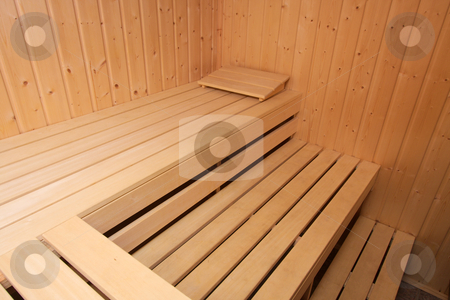 Sauna stock photo, Interior of a wooden sauna by P?