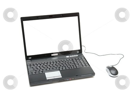 Laptop stock photo, Laptop with blank white screen isolated on white by P?