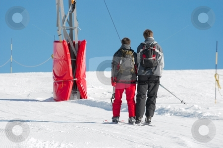 Ski stock photo, Skiers going up with the ski lift by P?