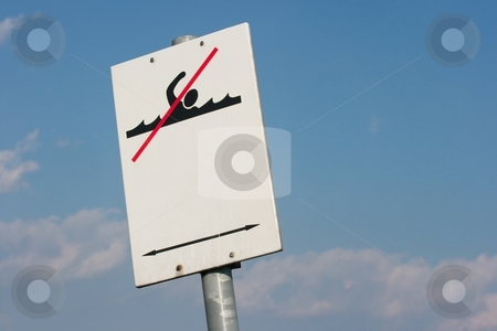 No Swimming stock photo, Swimming forbidden warning sign by P?