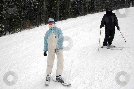 Skiers stock photo, Young skiers on the track by P?