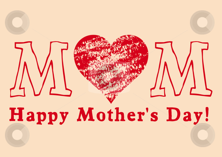 Happy Mother's Day stock vector clipart, Grungy mother's day greeting card, vector by Beata Kraus