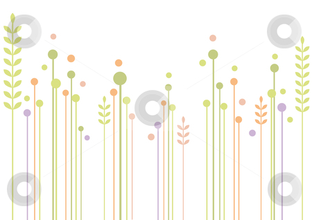 Abstract floral design stock vector clipart, Simple garden, modern floral background, vector by Beata Kraus