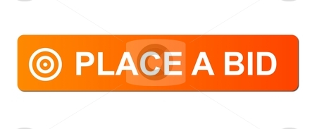 Place Bid Orange stock photo, Place Bid button with a ring or target simbol on white background. by Henrik Lehnerer