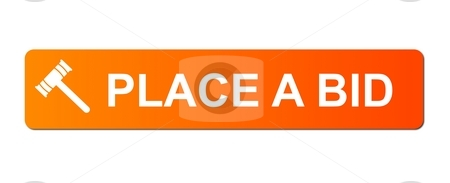 Place Bid Orange stock photo, Place Bid button with a auction hammer on white background. by Henrik Lehnerer