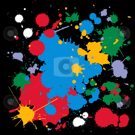 Colorful ink splats stock photo, Color ink splat, conceptual-abstract design over black background by Richard Laschon