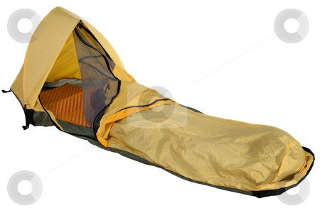 Bivy sack for solo expedition camping stock photo, Yellow bivy sack for minimalist solo expedition camping, open entry with mosquito net, foam sleeping pad inside, isolated on white with clipping path by Marek Uliasz