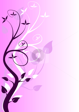 An abstract mauve floral design  stock vector clipart, An abstract mauve floral design with stylised trees in shades of purple and room for text by Mike Price