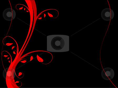 A red floral vector background stock vector clipart, A red floral background  on a black background with room for text by Mike Price