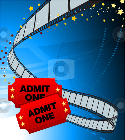 Admission Tickets with Film Strip stock vector clipart, Admission Tickets with Film Strip Original Vector Illustration Film Reel Concept by L Belomlinsky
