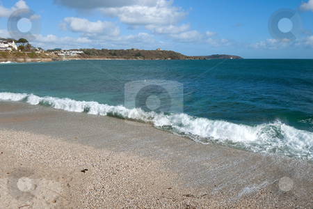 The shore of Gyllyngvase beach, Falmouth Cornwall. stock photo, The shore of Gyllyngvase beach, Falmouth Cornwall. by Stephen Rees