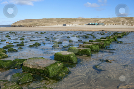 Stepping stones across a stream to the beach in Perranporth, Cornwall UK. stock photo, Stepping stones across a stream to the beach in Perranporth, Cornwall UK. by Stephen Rees