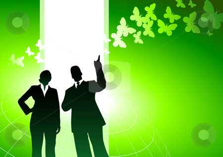 Business people with green nature internet background stock