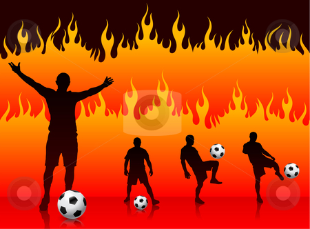 Soccer/Football Player on Hell Fire Background stock vector clipart, Soccer/Football Player on Hell Fire Background Original Vector Illustration by L Belomlinsky