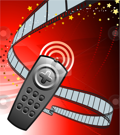 Remote on Film Reel Background stock vector clipart, Remote on Film Reel Background Original Vector Illustration Film Reel Concept by L Belomlinsky