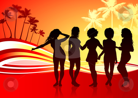 Sexy Young Women on Abstract Tropical Background stock vector clipart, Sexy Young Women on Abstract Tropical Background Original Vector Illustration Young Women Dancing Ideal for Party Concept by L Belomlinsky