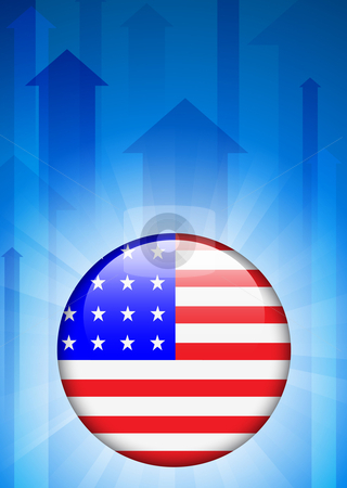 Print stock vector clipart, United States Flag Icon on Internet Button Original Vector Illustration by L Belomlinsky