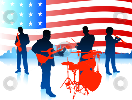Live Music Band with American Flag stock vector clipart, Live Music Band with American Flag Original Vector Illustration by L Belomlinsky