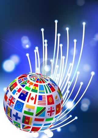 Flags Globe on Fiber Optic Background stock vector clipart, Flags Globe on Fiber Optic Background Original Vector Illustration by L Belomlinsky