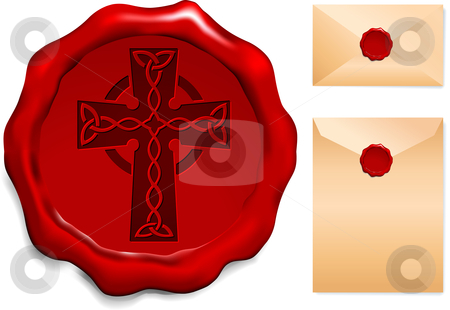 Cross on Wax Seal stock vector clipart, Cross on Wax Seal Origianl Vector Illustration Wax Seal Letter Stamp Ideal for Old Style Concept by L Belomlinsky