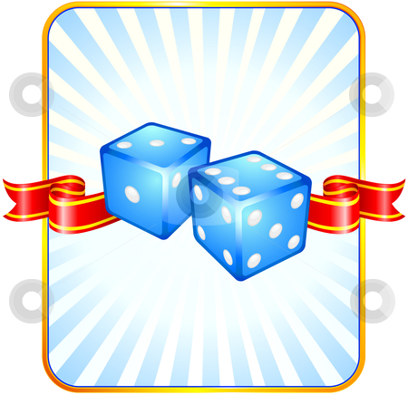 Blue Dice on Ribbon Background stock vector clipart, Blue Dice on Ribbon Background Original Vector Illustration Dice Ideal for Game Concept by L Belomlinsky