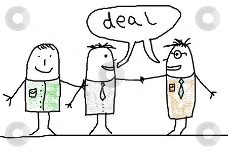 Handshake and business man stock photo, Business man illustration with handshake showing contract illustration by Gunnar Pippel