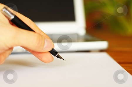Desktop in office stock photo, Business desktop still life with folder pen copyspace and laptop in office by Gunnar Pippel