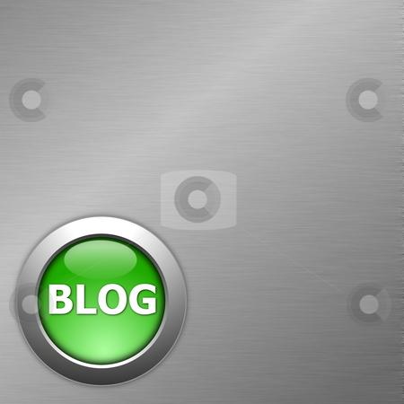 Green blog button stock photo, Green blog internet computre button on metal by Gunnar Pippel