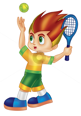 Tennis player stock photo, A digitally illustrated cute and colorful tennis player by Rey Gabudao