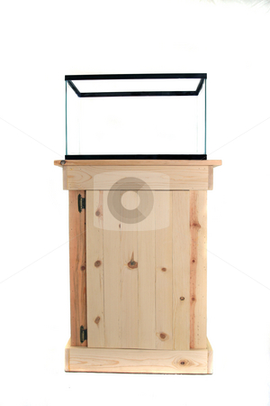 Fish Tank Stand stock photo, Hand crafted natural knotty pine fish tank cabinet by Jack Schiffer
