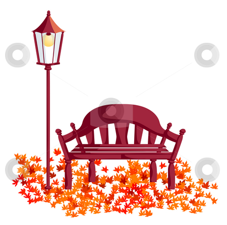 Wood chair, street lights, maple leaves stock photo, A wood chair and street lights, red maple leaves fall on the ground by Su Li