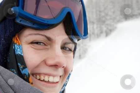 Skier stock photo, Portrait of a smiling female skier by P?