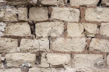 Wall stock photo, Old wall with aged adobe bricks by P?
